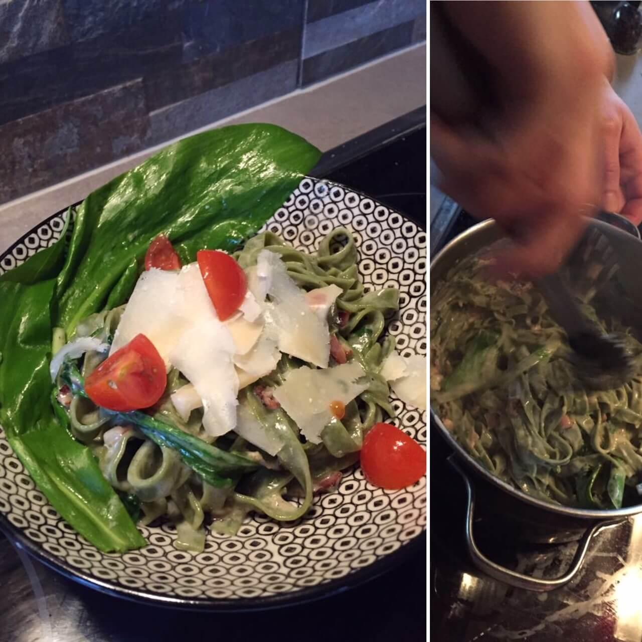 Baerlauchnudeln mit Parmesan und Tomaten auf waskochen.at